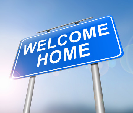 returning: Illustration depicting a sign with a welcome home concept.