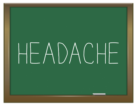 annoyance: Illustration depicting a green chalkboard with a headache concept.