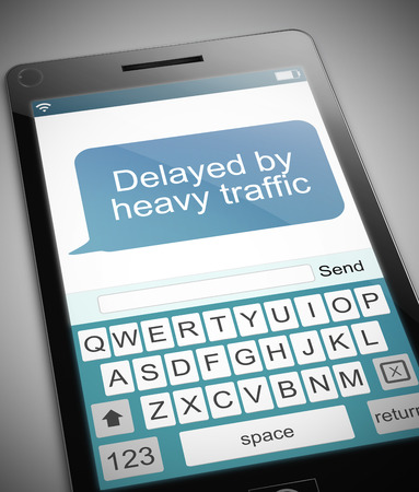 snarl: Illustration depicting a phone with a traffic delay message concept. Stock Photo