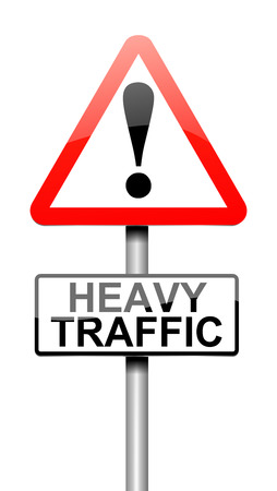 gridlock: Illustration depicting a sign with a traffic concept. Stock Photo