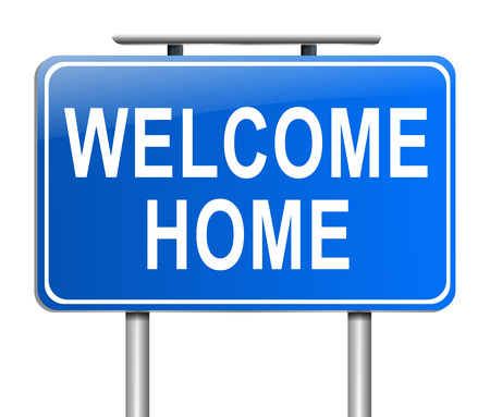 homecoming: Illustration depicting a sign with a welcome home concept.