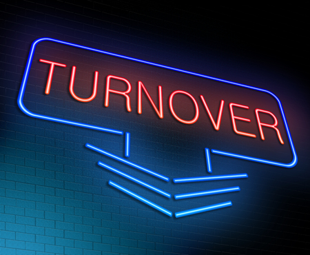 Illustration depicting an illuminated neon sign with a turnover concept.