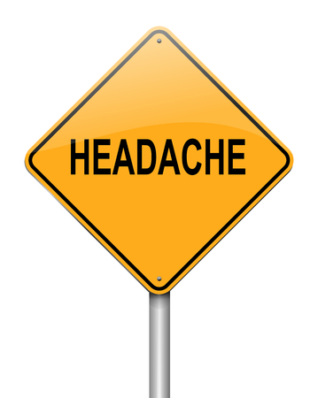 inconvenience: Illustration depicting a sign with a headache concept. Stock Photo
