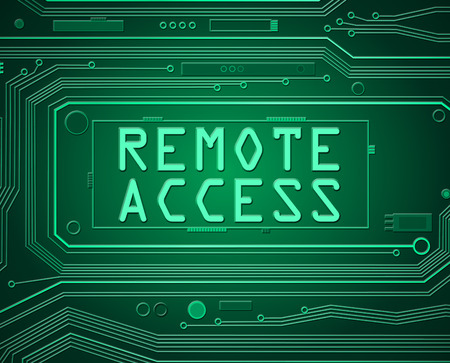 remote: Abstract style illustration depicting printed circuit board components with remote access concept.