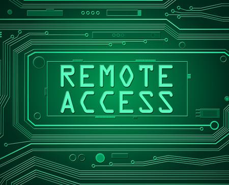 Ilustración de estilo abstracto que representa componentes de la placa de circuito impreso con el concepto de acceso remoto. Foto de archivo - 45967230