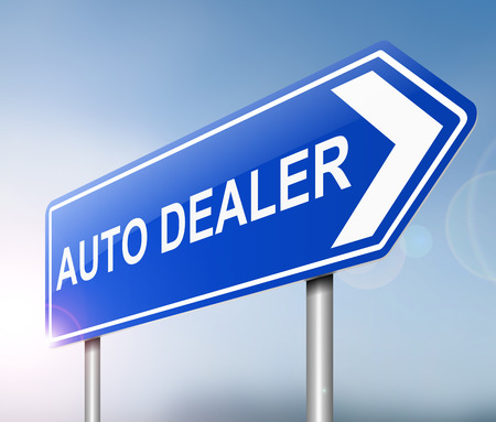 dealership: Illustration depicting a sign with an auto dealers concept.