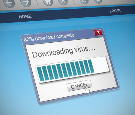notify: Illustration depicting a computer dialog box with a virus concept. Stock Photo