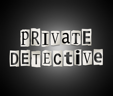 operative: Illustration depicting a set of cut out printed letters arranged to form the words private detective.