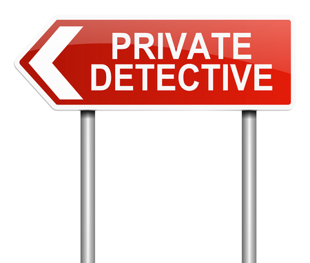 operative: Illustration depicting a sign with a private detective concept.