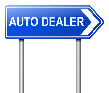 motor vehicle: Illustration depicting a sign with an auto dealers concept.