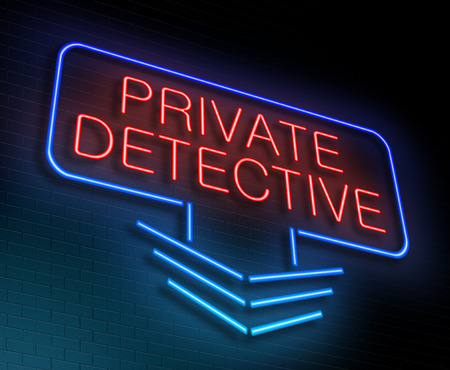 operative: Illustration depicting an illuminated neon sign with a private detective concept. Stock Photo