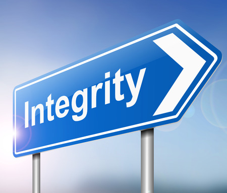 virtue: Illustration depicting a sign with an integrity concept.
