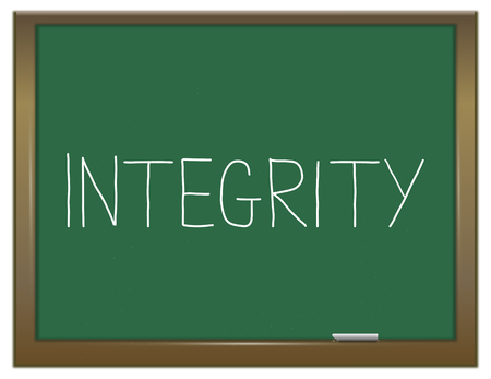 decency: Illustration depicting a green chalkboard with an integrity concept.