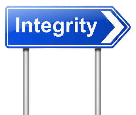 decency: Illustration depicting a sign with an integrity concept.