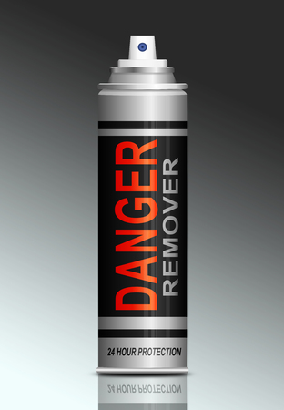 Illustration depicting an aerosol can with a danger remover concept.