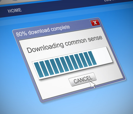 dialog box: Illustration depicting a computer dialog box with a common sense concept.