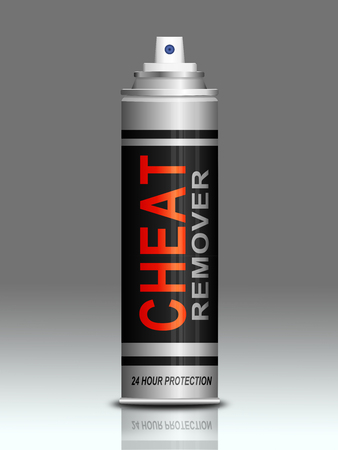 con: Illustration depicting an aerosol can with a cheat concept. Stock Photo