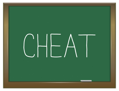 hoax: Illustration depicting a green chalkboard with a cheat concept.