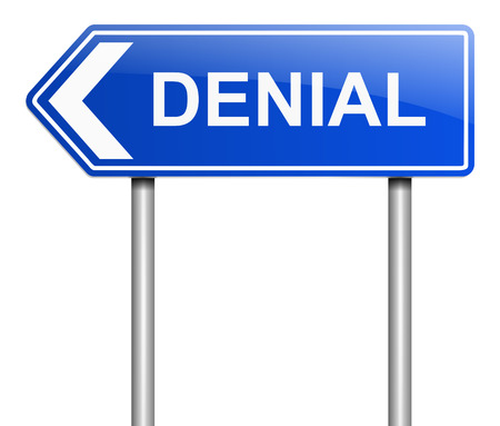 denial: Illustration depicting a sign with a denial concept. Stock Photo