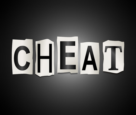 dupe: Illustration depicting a set of cut out printed letters arranged to form the word cheat.