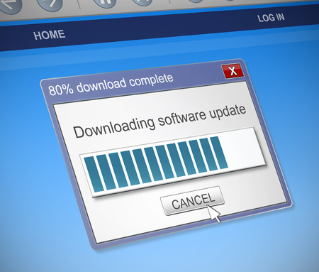 dialog box: Illustration depicting a computer dialog box with a software update concept.
