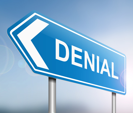 Illustration depicting a sign with a denial concept. Stock Photo