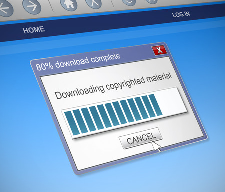 dialog box: Illustration depicting a computer dialog box with a downloading copyrighted material concept.