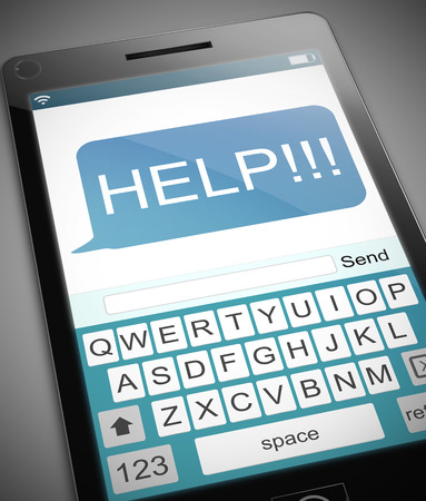 remedies: Illustration depicting a phone with a help concept. Stock Photo