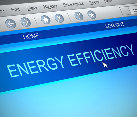 greenhouse gas: Illustration depicting a computer screen capture with an energy efficiency concept. Stock Photo