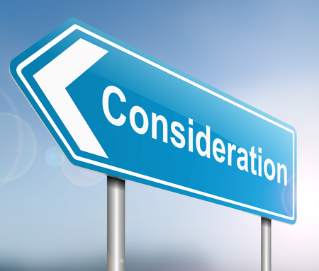 deliberation: Illustration depicting a sign with a consideraiton concept. Stock Photo