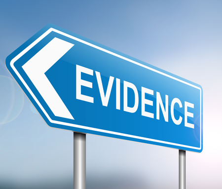 deposition: Illustration depicting a sign with an evidence concept. Stock Photo