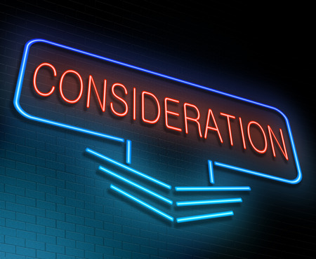 deliberation: Illustration depicting an illuminated neon sign with a consideration concept.