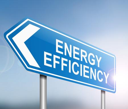 eficiencia: Ilustración que muestra una señal con un concepto de eficiencia energética.