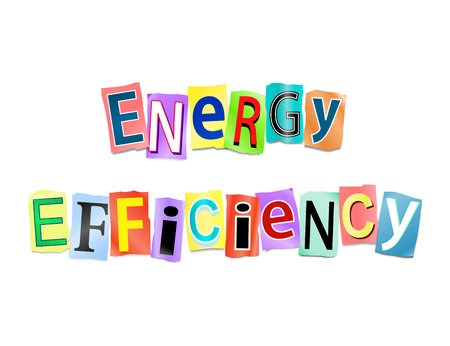 greenhouse gas: Illustration depicting a set of cut out printed letters arranged to form the words energy efficiency.