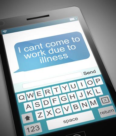 enfermos: Ilustración que muestra un teléfono con un concepto de los días de enfermedad.