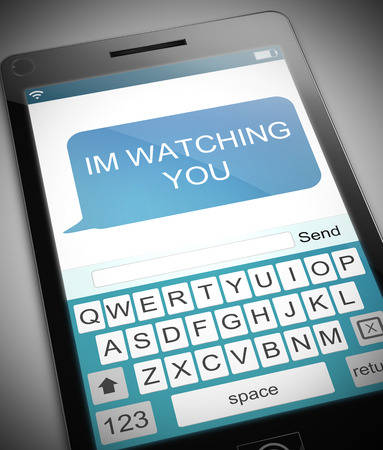 intimidation: Illustration depicting a phone with a watching concept.
