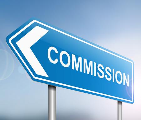 remuneraciones: Ilustraci�n que muestra una se�al con un concepto de comisi�n.