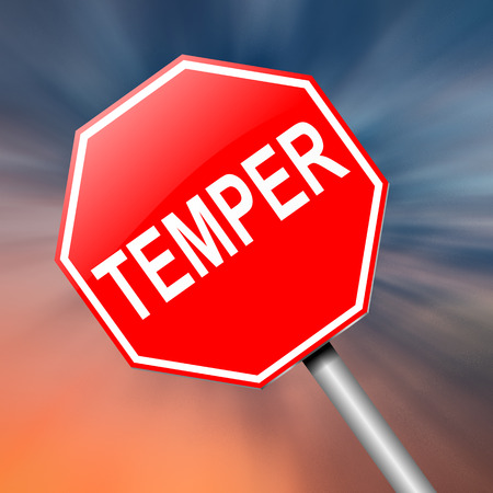 moody: Illustration depicting a sign with a temper concept. Stock Photo