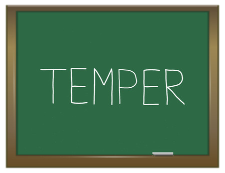 temper: Illustration depicting a green chalkboard with a temper concept.