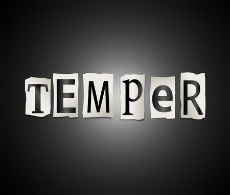 temper: Illustration depicting a set of cut out printed letters arranged to form the word temper.