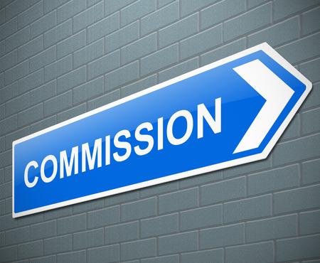 remuneraciones: Ilustración que muestra una señal con un concepto de comisión.