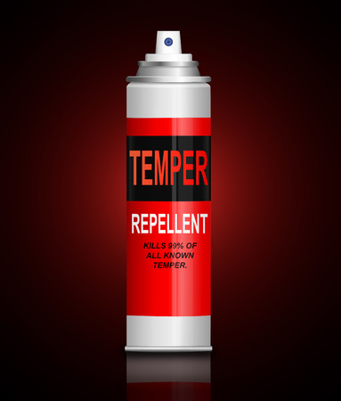 Illustration depicting an aerosol spray with a temper remover concept.