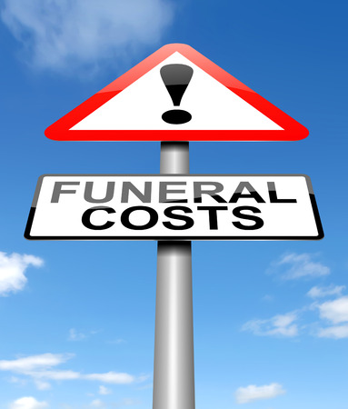 fee: Illustration depicting a sign with a funeral cost concept.