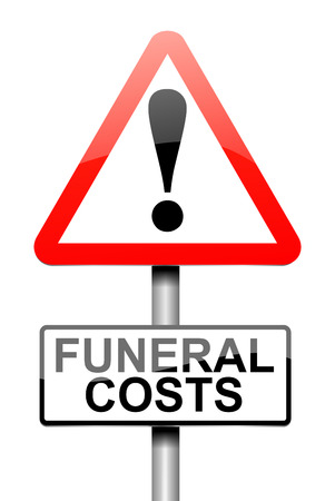 cost: Illustration depicting a sign with a funeral cost concept.