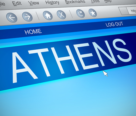 capture: Illustration depicting a computer screen capture with an Athens concept. Stock Photo