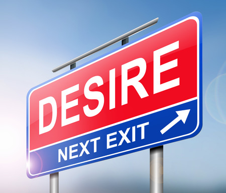 inclination: Illustration depicting a sign with a desire concept. Stock Photo