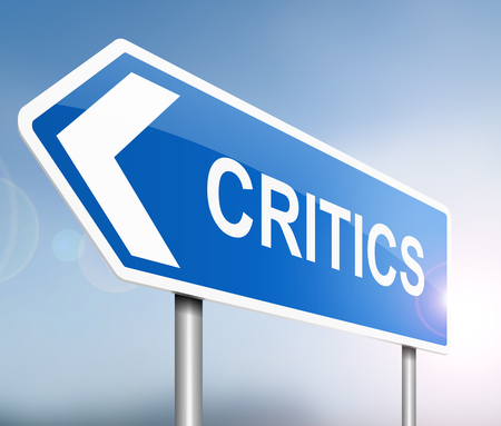 judging: Illustration depicting a sign with a critics  concept. Stock Photo