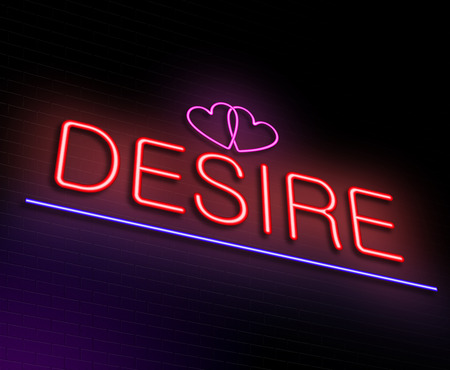 lust: Illustration depicting an illuminated neon sign with a desire concept.
