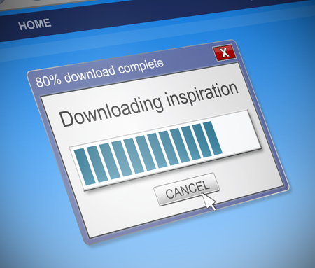 dialog box: Illustration depicting a computer dialog box with an inspiration concept. Stock Photo