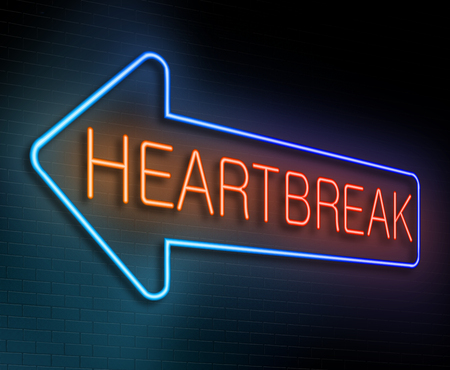 miserable: Illustration depicting an illuminated neon sign with a heartbreak concept.